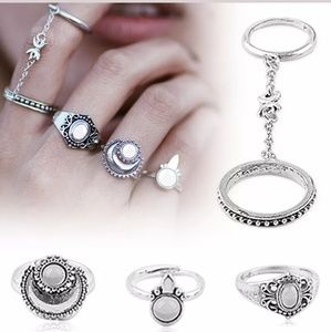 Boho Moon midi Ring set with chain ring